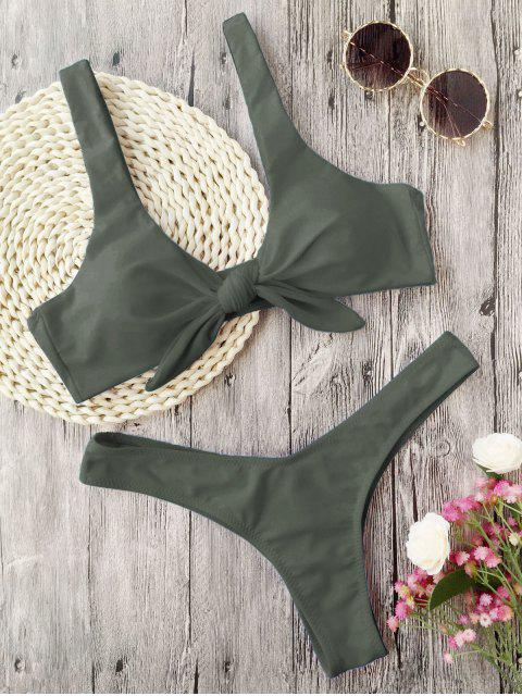 affordable Padded Knotted Thong Bikini - ARMY GREEN M Mobile