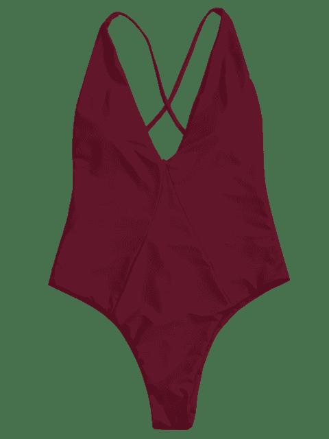 women's High Cut Cross Back Swimwear - BURGUNDY M Mobile