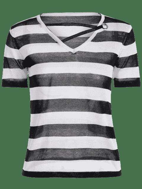 T-shirt à rayures à col en V - Noir TAILLE MOYENNE Mobile
