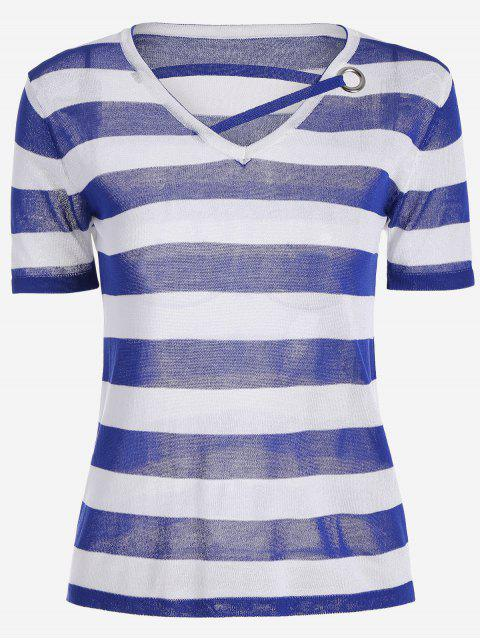 latest V Neck Striped Knitted Tee - BLUE ONE SIZE Mobile