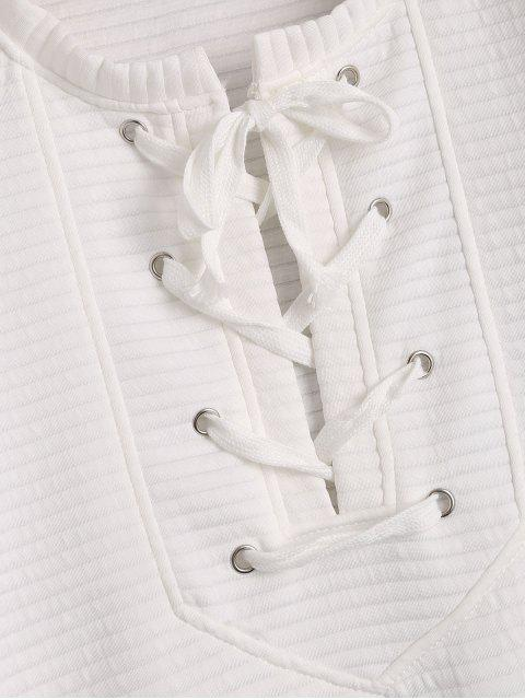 outfit Drop Shoulder Lace Up Sweatshirt - WHITE XL Mobile