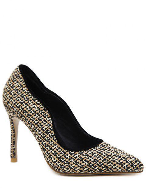 affordable Sequins Gien Check Stiletto Heel Pumps - BLACK 37 Mobile