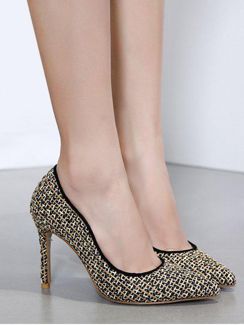 buy Sequins Gien Check Stiletto Heel Pumps - BLACK 38 Mobile