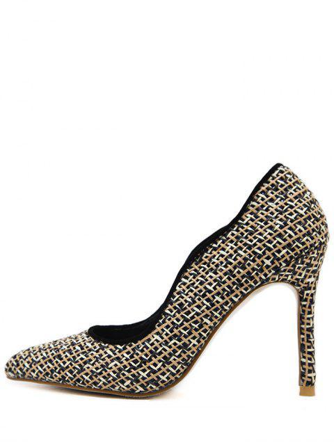 womens Sequins Gien Check Stiletto Heel Pumps - BLACK 39 Mobile