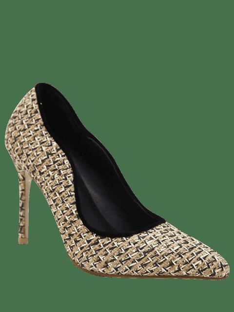 ladies Sequins Gien Check Stiletto Heel Pumps - APRICOT 39 Mobile
