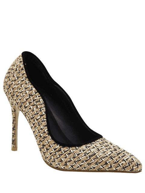 outfit Sequins Gien Check Stiletto Heel Pumps - APRICOT 38 Mobile
