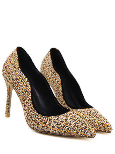 outfits Sequins Gien Check Stiletto Heel Pumps - GOLDEN 39 Mobile