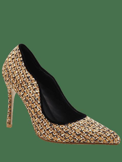 shops Sequins Gien Check Stiletto Heel Pumps - GOLDEN 40 Mobile
