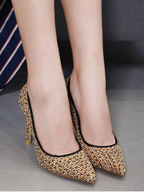 fashion Sequins Gien Check Stiletto Heel Pumps - GOLDEN 37 Mobile
