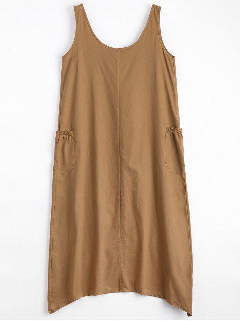 womens U Neck Sleeveless Asymmetric Dress - CAMEL 2XL Mobile