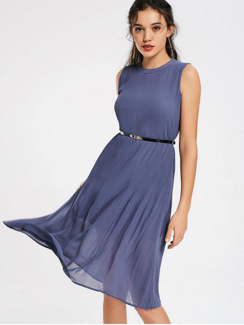 best Pleated Panel Belted Chiffon Dress - STONE BLUE M Mobile