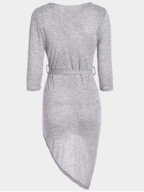 hot Plunging Neck Belted Asymmetric Dress - HEATHER GRAY M Mobile