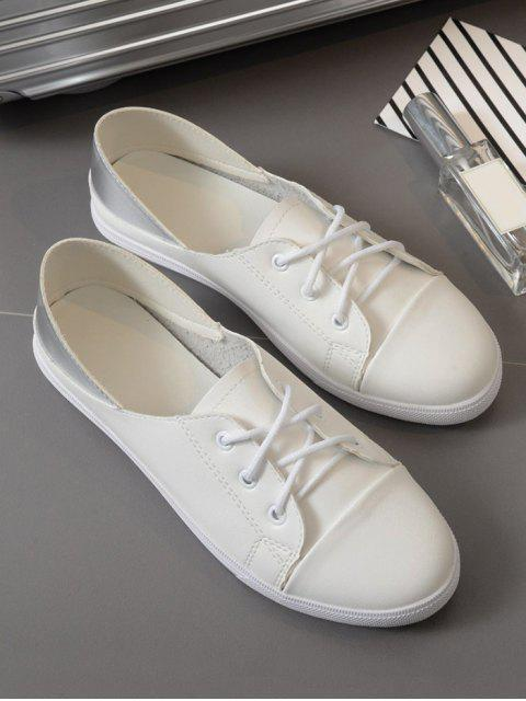 shops Faux Leather Tie Up Two Tone Flat Shoes - WHITE 39 Mobile