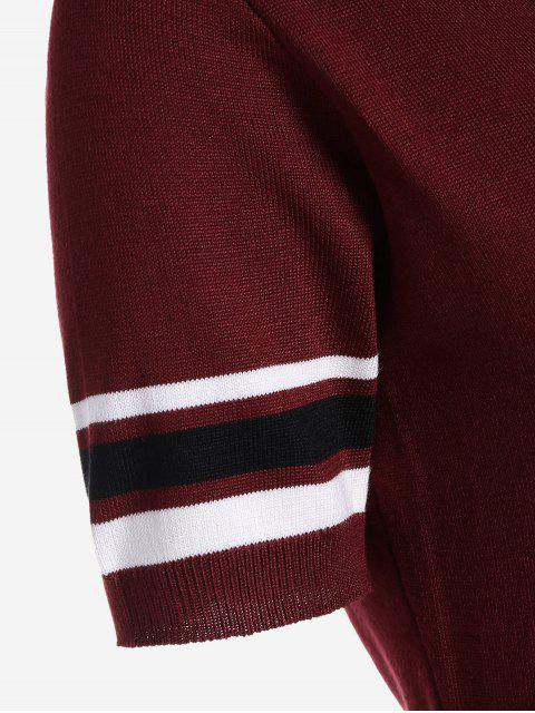 Robe en tricot rayé à col en V - Rouge vineux  TAILLE MOYENNE Mobile