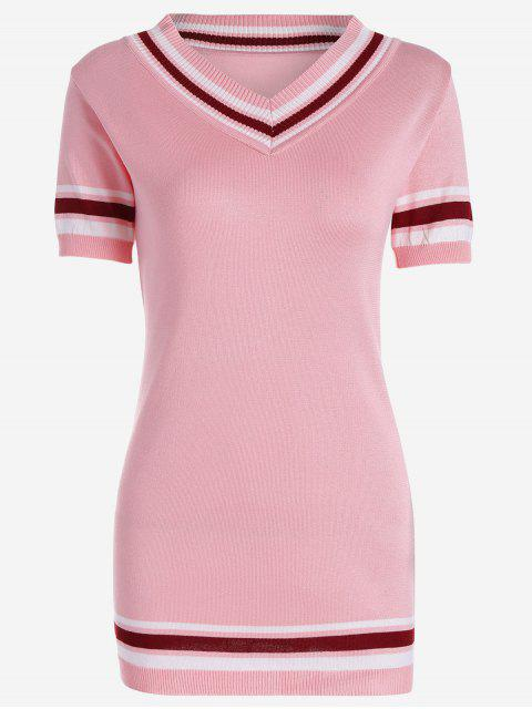 trendy V Neck Striped Knitted Dress - PINK ONE SIZE Mobile
