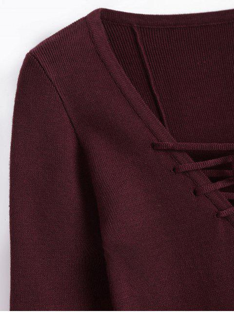 Robe tricotée à manches longues - Rouge vineux  S Mobile