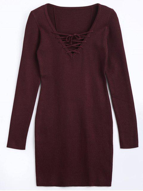 chic Lace Up Long Sleeve Knitted Dress - WINE RED M Mobile