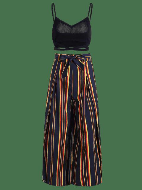 Ensemble Cami Top et Belted Slit Pants - Rayure L Mobile