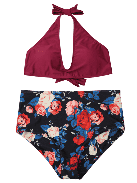 women's Floral Plus Size High Waisted Bikini Set - WINE RED XL Mobile