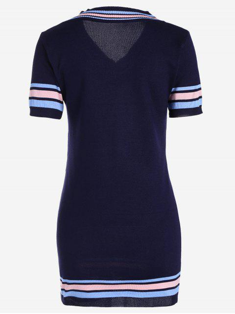 outfits V Neck Striped Knitted Dress - PURPLISH BLUE ONE SIZE Mobile