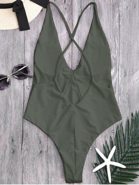 shops High Cut Cross Back Swimwear - ARMY GREEN XL Mobile