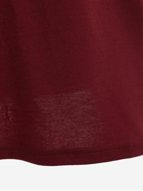 womens Round Neck Letter Print Swing Tee - WINE RED L Mobile
