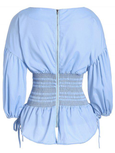 lady Back Zippered Puff Sleeve Blouse - LIGHT BLUE ONE SIZE Mobile