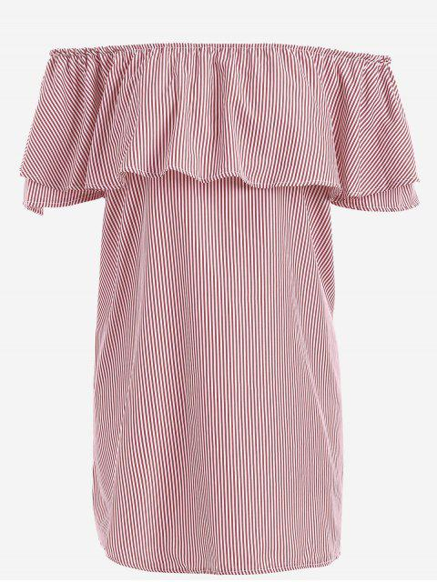 sale Off The Shoulder Flounce Striped Mini Dress - RED XL Mobile