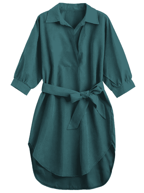 womens Three Quarter Sleeve Belted Shift Dress - BLACKISH GREEN L Mobile