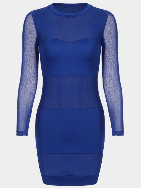 Sheer Maschen Panel Bodycon Kleid - Blau L Mobile