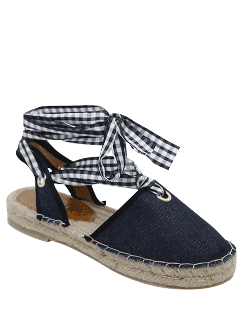 women Slingback Stitching Tie Up Sandals - DEEP BLUE 37 Mobile