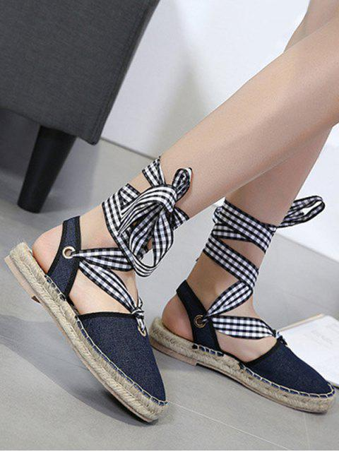 lady Slingback Stitching Tie Up Sandals - DEEP BLUE 40 Mobile