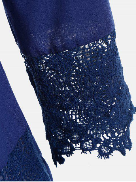 women's V Neck Lace Panel Blouse - ROYAL M Mobile