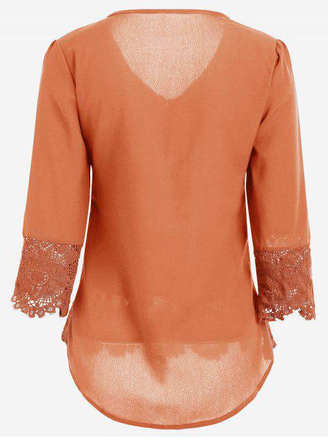 best V Neck Lace Panel Blouse - ORANGE M Mobile