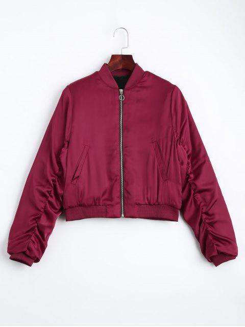 fancy Puffer Zip Up Bomber Jacket - RED L Mobile