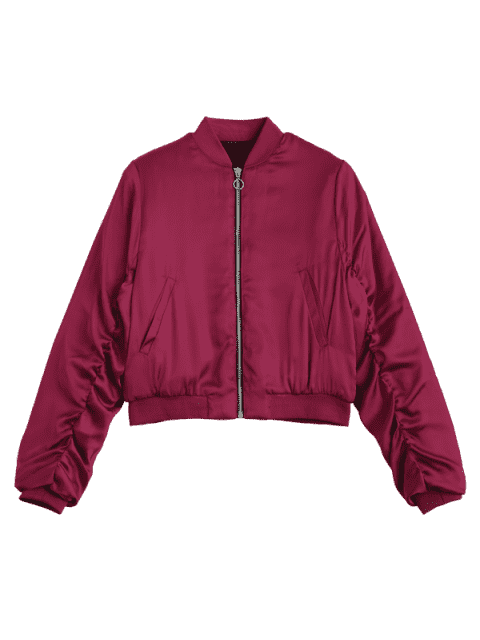 unique Puffer Zip Up Bomber Jacket - RED M Mobile