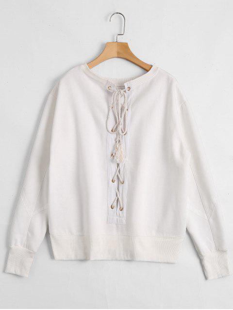 Pullover Sweatshirt mit Schnürsenkel am Rücken - Weiß S Mobile