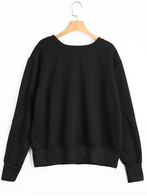 women Back Lace Up Pullover Sweatshirt - BLACK S Mobile
