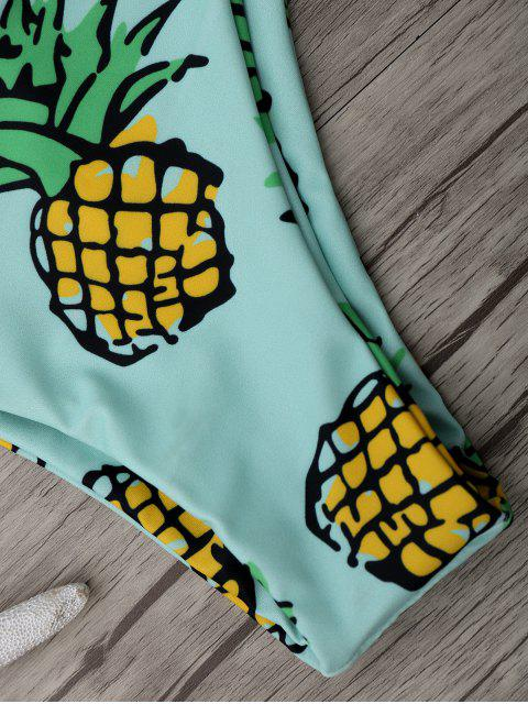 latest Pineapple Print Thong Bottom Bikini Set - LIGHT GREEN XL Mobile