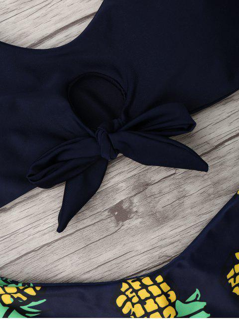 best Pineapple Print Thong Bottom Bikini Set - PURPLISH BLUE XL Mobile