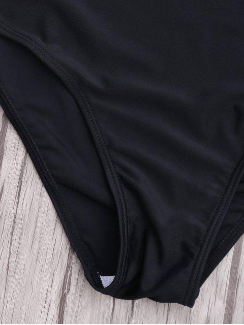 fancy Cut Out Halter Monokini - BLACK M Mobile