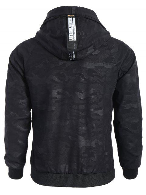 shops Side Letter Print Camo Hooded Jacket - BLACK L Mobile
