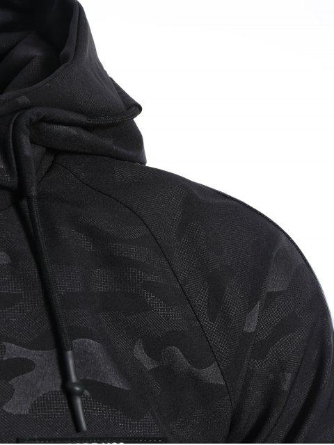 latest Side Letter Print Camo Hooded Jacket - BLACK M Mobile