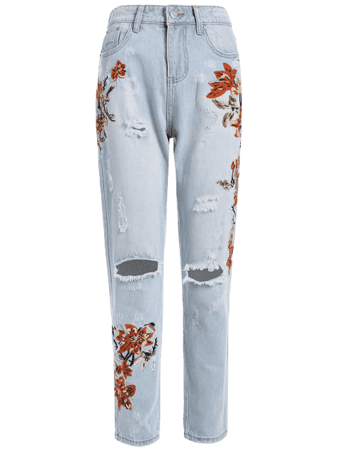 trendy Floral Embroidery Destroyed Tapered Jeans - DENIM BLUE XL Mobile