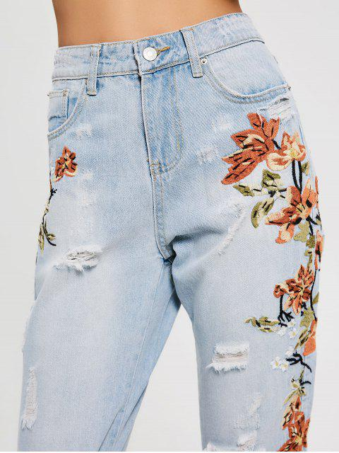 fashion Floral Embroidery Destroyed Tapered Jeans - DENIM BLUE L Mobile