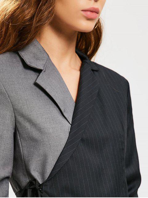 shops Stripes Two Tone Wrap Blazer - BLACK AND GREY L Mobile