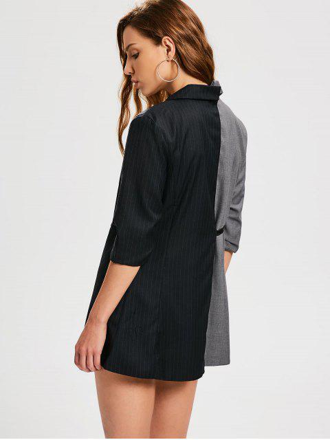 fashion Stripes Two Tone Wrap Blazer - BLACK AND GREY M Mobile