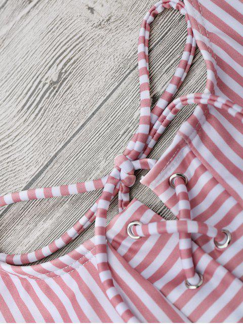 fancy Striped Backless Lace Up Swimwear - STRIPE L Mobile
