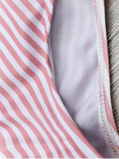 unique Striped Backless Lace Up Swimwear - STRIPE M Mobile