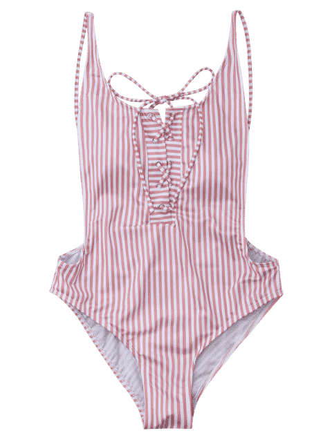 sale Striped Backless Lace Up Swimwear - STRIPE S Mobile